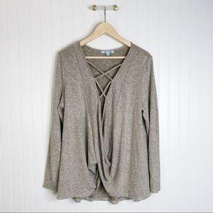 She & sky sweater long sleeve swoop Vneck L